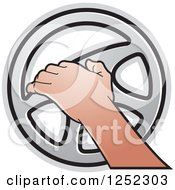 Clipart Of A Hand Operating A Silver Steering Wheel Royalty Free Vector Illustration by Lal Perera