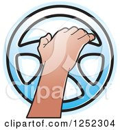 Clipart Of A Hand Operating A Blue Steering Wheel Royalty Free Vector Illustration by Lal Perera
