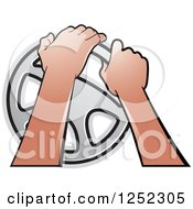 Clipart Of Hands Operating A Steering Wheel Royalty Free Vector Illustration by Lal Perera