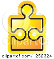 Clipart Of A Yellow Jigsaw Puzzle Piece Royalty Free Vector Illustration by Lal Perera