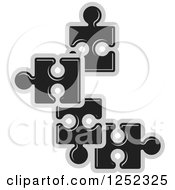 Clipart Of Black And Gray Jigsaw Puzzle Pieces Royalty Free Vector Illustration