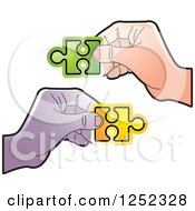 Clipart Of Hands Holding Jigsaw Puzzle Pieces Royalty Free Vector Illustration by Lal Perera