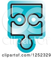 Clipart Of A Blue Jigsaw Puzzle Piece Royalty Free Vector Illustration by Lal Perera