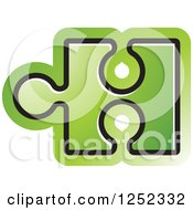 Clipart Of A Green Jigsaw Puzzle Piece Royalty Free Vector Illustration by Lal Perera