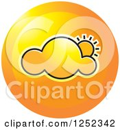 Clipart Of A Round Orange Cloud And Sun Icon Royalty Free Vector Illustration by Lal Perera