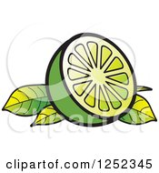 Clipart Of A Sliced Lime And Leaves Royalty Free Vector Illustration
