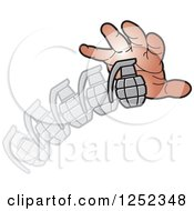 Clipart Of A Hand Throwing A Grenade Royalty Free Vector Illustration by Lal Perera