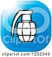 Clipart Of A Black And White Grenade On A Blue Square Royalty Free Vector Illustration by Lal Perera