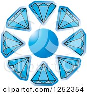 Clipart Of A Blue Circle With Diamonds Royalty Free Vector Illustration by Lal Perera
