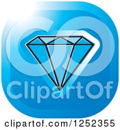 Clipart Of A Blue Diamond Icon Royalty Free Vector Illustration by Lal Perera
