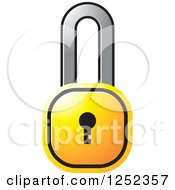 Clipart Of A Yellow Locked Padlock Royalty Free Vector Illustration by Lal Perera