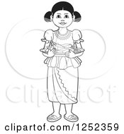 Clipart Of A Black And White Girl With Sinhala Sweets Royalty Free Vector Illustration by Lal Perera
