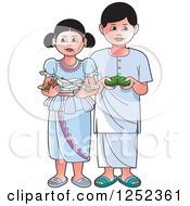 Clipart Of Children With Sinhala Sweets And Betel Royalty Free Vector Illustration