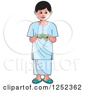 Clipart Of A Boy With Sinhala Betel Royalty Free Vector Illustration by Lal Perera