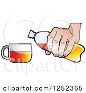 Clipart Of A Hand Pouring A Beverage From An Orange Water Bottle Royalty Free Vector Illustration