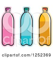 Clipart Of Pink Blue And Orange Water Bottles Royalty Free Vector Illustration by Lal Perera