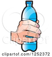 Clipart Of A Hand Holding A Blue Water Bottle Royalty Free Vector Illustration by Lal Perera