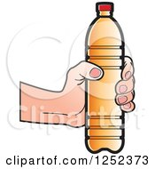 Clipart Of A Hand Holding An Orange Water Bottle Royalty Free Vector Illustration by Lal Perera