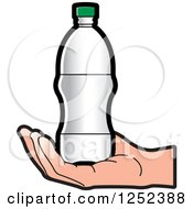 Clipart Of A Hand Holding A Water Bottle Royalty Free Vector Illustration by Lal Perera