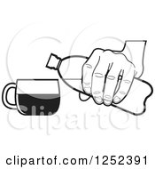 Clipart Of A Black And White Hand Pouring From A Water Bottle Royalty Free Vector Illustration by Lal Perera