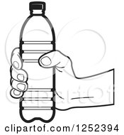 Clipart Of A Black And White Hand Holding A Water Bottle Royalty Free Vector Illustration by Lal Perera