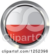 Clipart Of A Round Polish Flag Icon 2 Royalty Free Vector Illustration