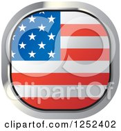 Clipart Of A Square American Flag Icon Royalty Free Vector Illustration