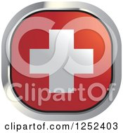 Clipart Of A Square Swiss Flag Icon Royalty Free Vector Illustration