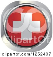 Clipart Of A Round Swiss Flag Icon Royalty Free Vector Illustration