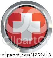 Clipart Of A Round Swiss Flag Icon 2 Royalty Free Vector Illustration