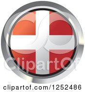 Clipart Of A Round Denmark Flag Icon 2 Royalty Free Vector Illustration