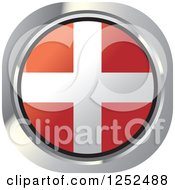 Clipart Of A Round Denmark Flag Icon Royalty Free Vector Illustration