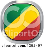 Clipart Of A Square Congo Flag Icon Royalty Free Vector Illustration