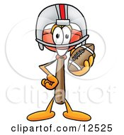 Sink Plunger Mascot Cartoon Character In A Helmet Holding A Football by Toons4Biz