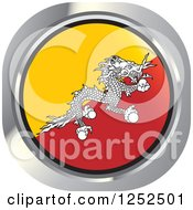 Clipart Of A Round Bhutanese Flag Icon Royalty Free Vector Illustration