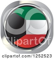 Clipart Of A Round Kuwaiti Flag Icon Royalty Free Vector Illustration