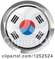 Clipart Of A Round South Korean Flag Icon 2 Royalty Free Vector Illustration