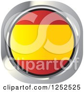 Clipart Of A Round Spanish Flag Icon Royalty Free Vector Illustration