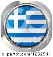 Clipart Of A Round Greek Flag Icon Royalty Free Vector Illustration