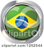 Clipart Of A Round Brazilian Flag Icon Royalty Free Vector Illustration