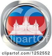 Clipart Of A Round Cambodian Flag Icon Royalty Free Vector Illustration by Lal Perera
