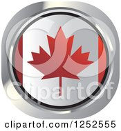 Clipart Of A Round Canadian Flag Icon Royalty Free Vector Illustration