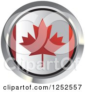Clipart Of A Round Canadian Flag Icon 2 Royalty Free Vector Illustration