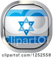 Clipart Of A Square Israeli Flag Icon Royalty Free Vector Illustration