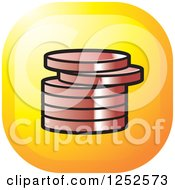 Clipart Of A Stack Of Bronze Coins Icon Royalty Free Vector Illustration