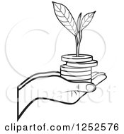 Clipart Of A Black And White Hand Holding A Stack Of Coins And A Seedling Royalty Free Vector Illustration