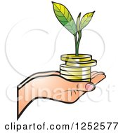 Clipart Of A Hand Holding A Stack Of Gold Coins And A Seedling Royalty Free Vector Illustration by Lal Perera