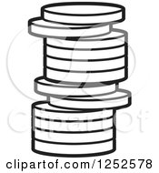 Clipart Of A Black And White Stack Of Coins Royalty Free Vector Illustration