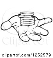 Clipart Of A Black And White Hand And A Stack Of Coins Royalty Free Vector Illustration