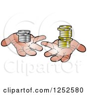 Clipart Of Hands Holding Coins Royalty Free Vector Illustration